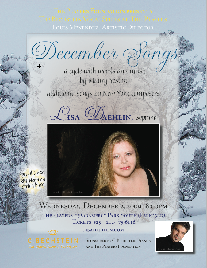 December Songs Lisa Daehlin and Louis Menendez in concert at The Players NYC December 2010
